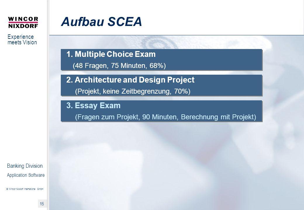Aufbau SCEA 1. Multiple Choice Exam (48 Fragen, 75 Minuten, 68%)