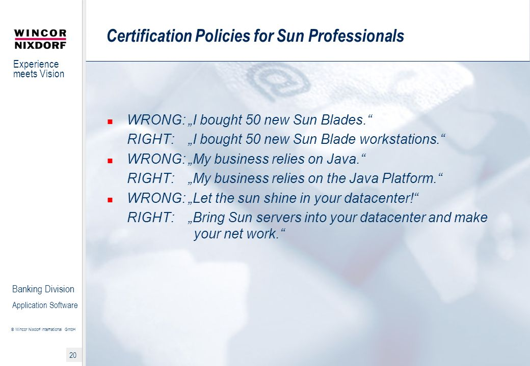 Certification Policies for Sun Professionals