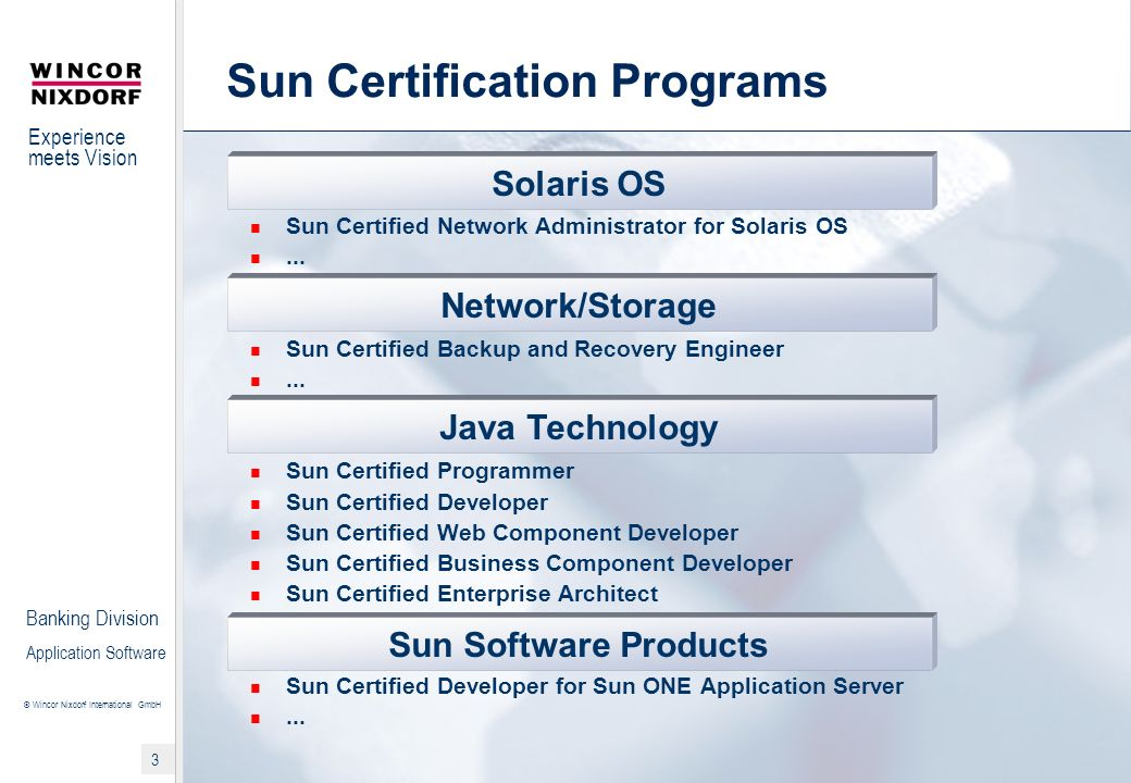 Sun Certification Programs