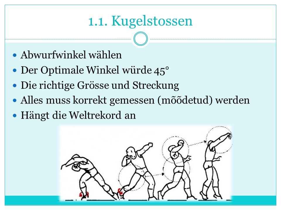 1.1. Kugelstossen Abwurfwinkel wählen Der Optimale Winkel würde 45°