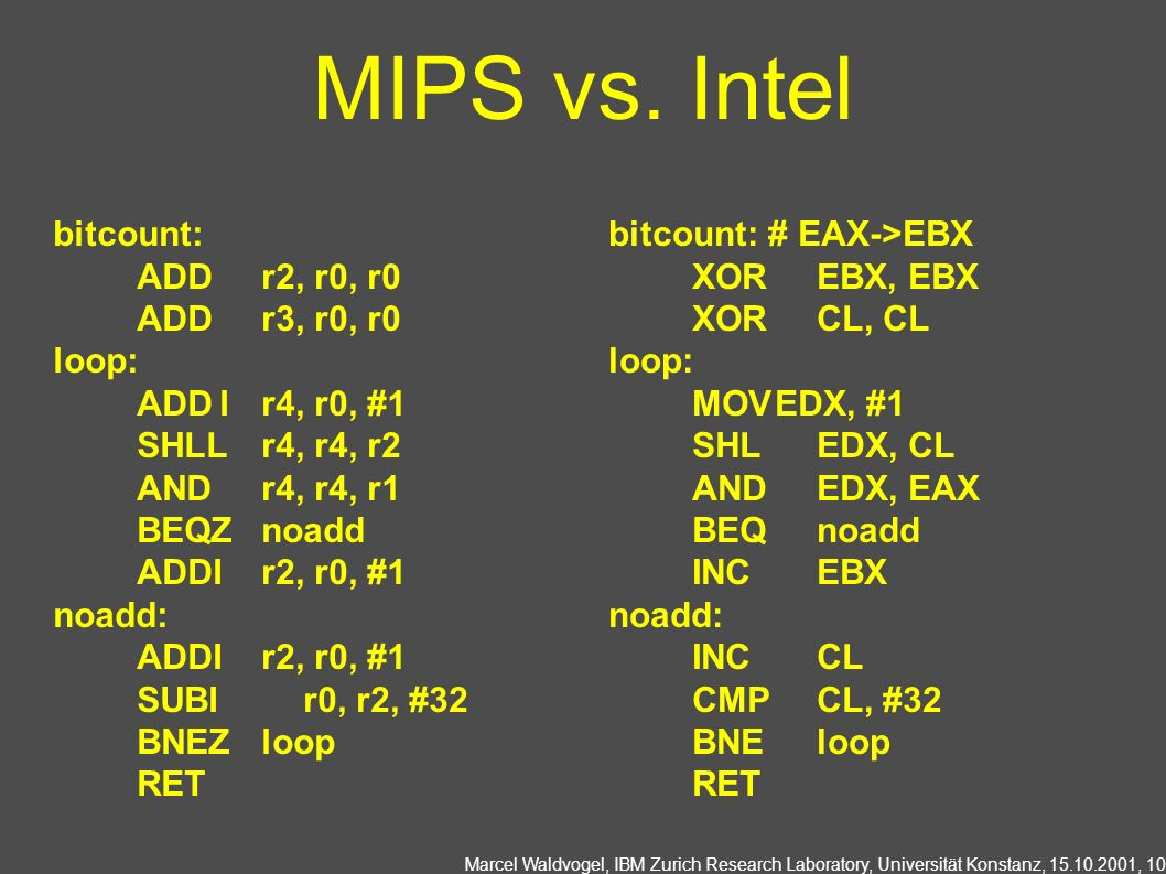MIPS vs. Intel bitcount: ADD r2, r0, r0 ADD r3, r0, r0 loop: