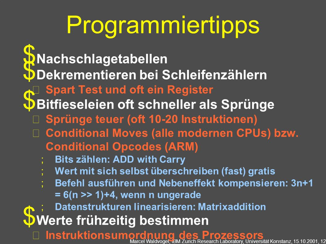 Programmiertipps Nachschlagetabellen
