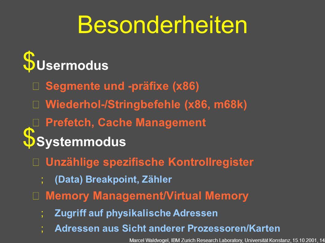 Besonderheiten Usermodus Systemmodus Segmente und -präfixe (x86)