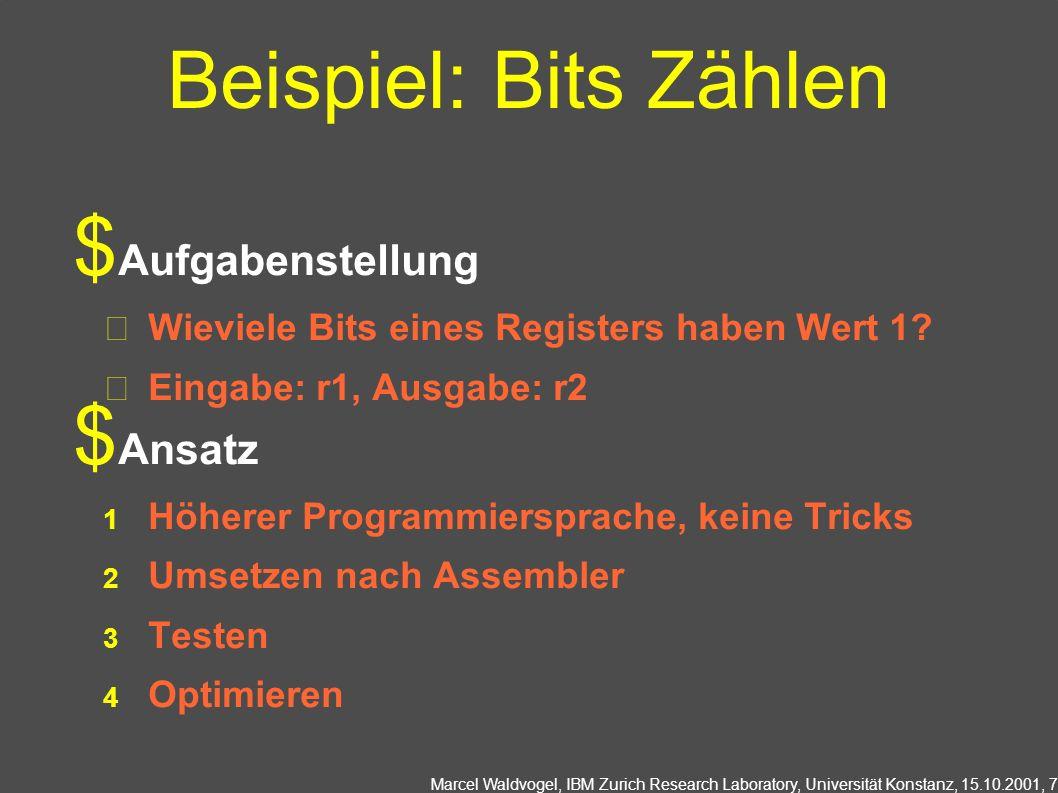 Beispiel: Bits Zählen Aufgabenstellung Ansatz