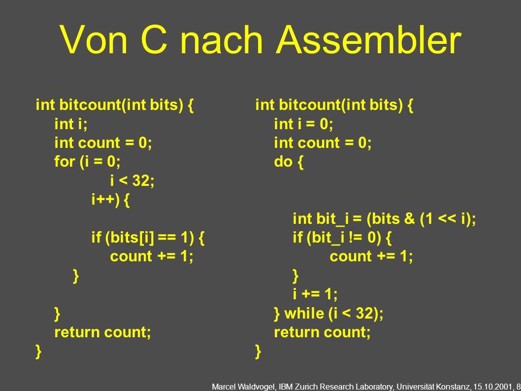 Von C nach Assembler int bitcount(int bits) { int i; int count = 0;