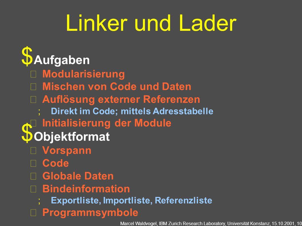 Linker und Lader Aufgaben Objektformat Modularisierung