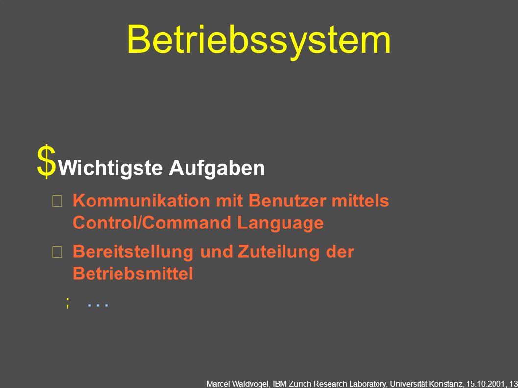 Betriebssystem Wichtigste Aufgaben
