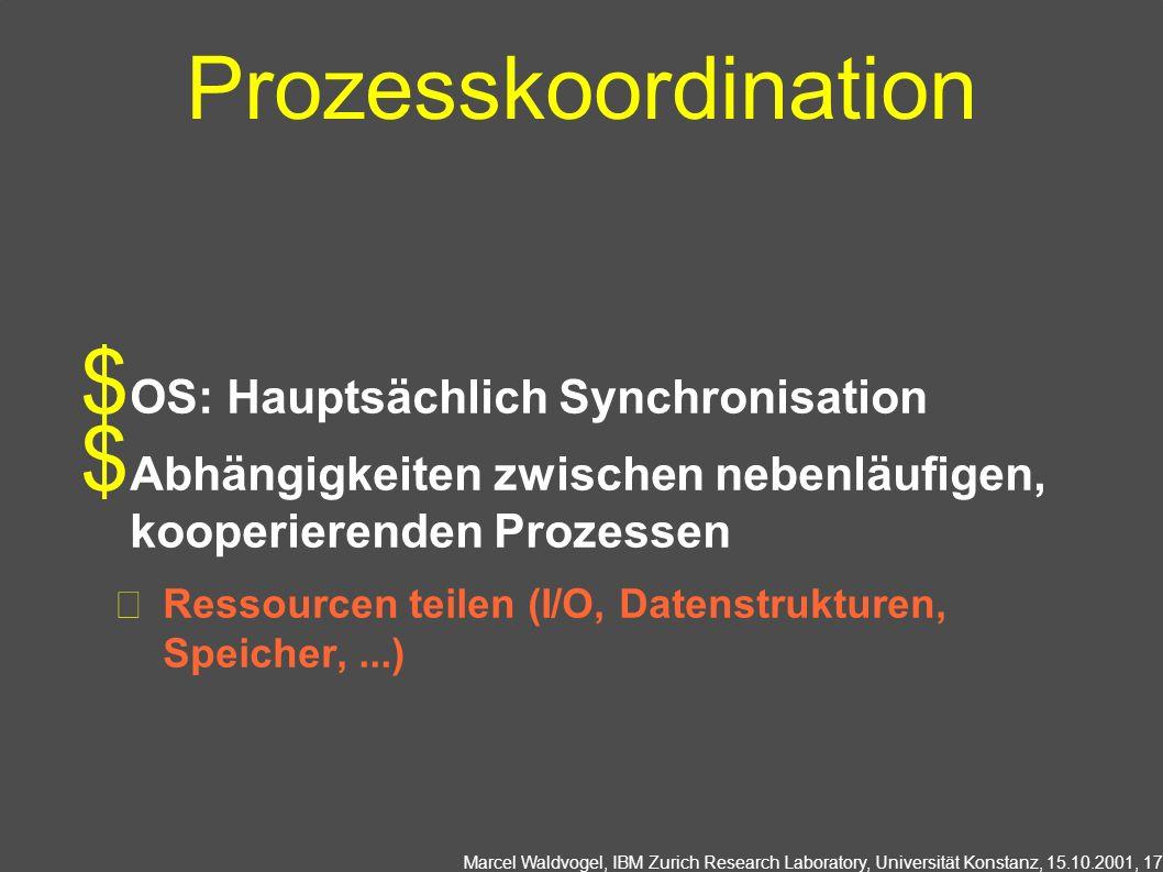 Prozesskoordination OS: Hauptsächlich Synchronisation