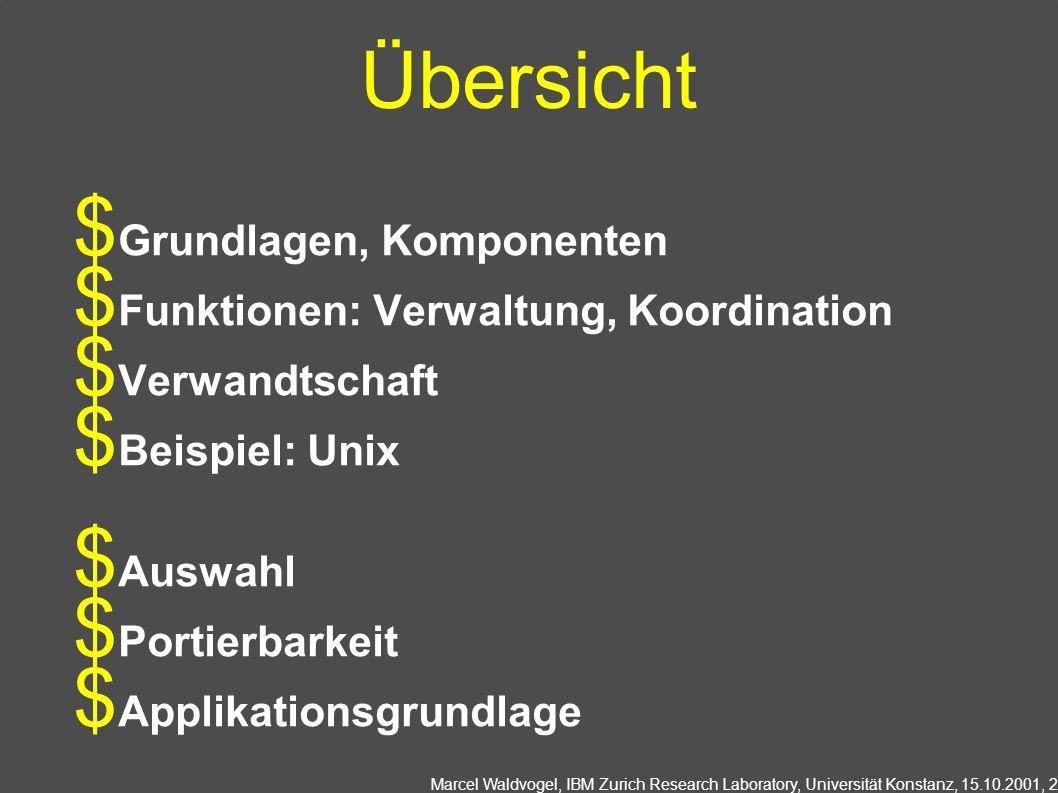 Übersicht Grundlagen, Komponenten Funktionen: Verwaltung, Koordination