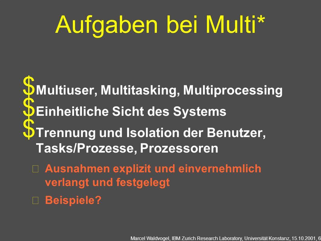 Aufgaben bei Multi* Multiuser, Multitasking, Multiprocessing