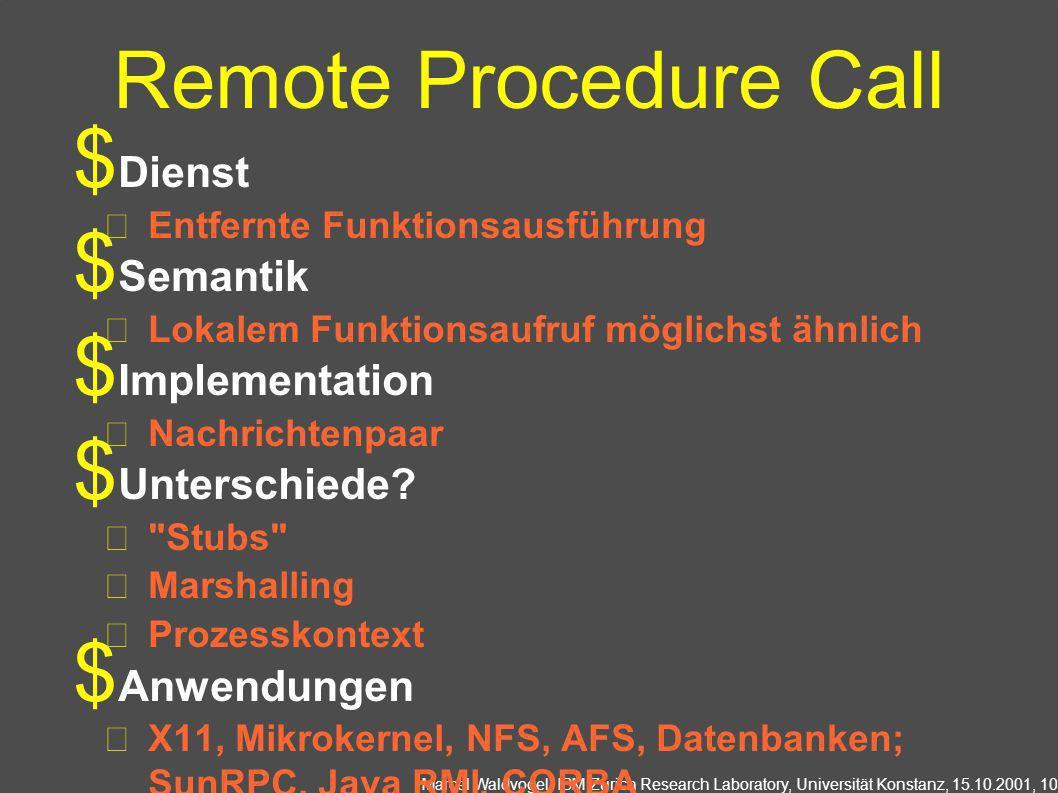 Remote Procedure Call Dienst Semantik Implementation Unterschiede