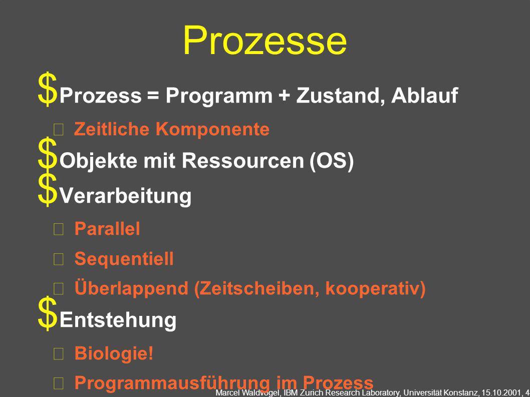 Prozesse Prozess = Programm + Zustand, Ablauf