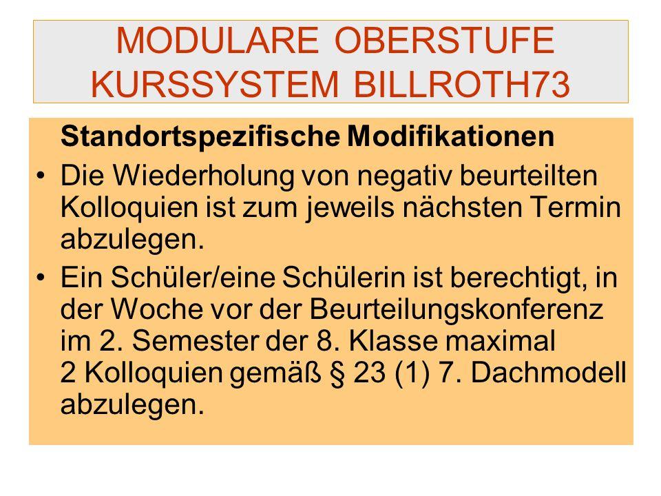 MODULARE OBERSTUFE KURSSYSTEM BILLROTH73
