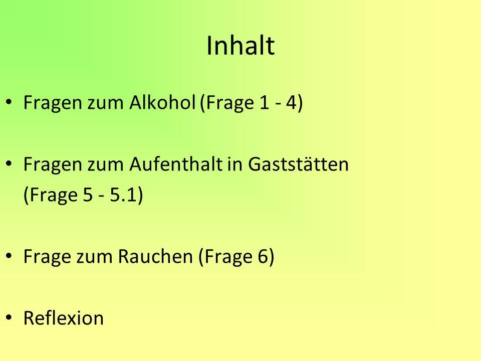 Inhalt Fragen zum Alkohol (Frage 1 - 4)