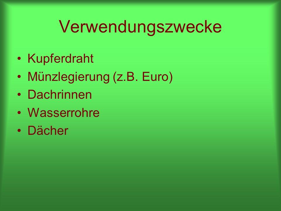 Verwendungszwecke Kupferdraht Münzlegierung (z.B. Euro) Dachrinnen