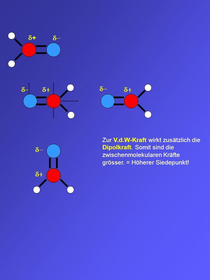 d+ d- d- d+ d- d+ Zur V.d.W-Kraft wirkt zusätzlich die Dipolkraft. Somit sind die zwischenmolekularen Kräfte grösser. = Höherer Siedepunkt!