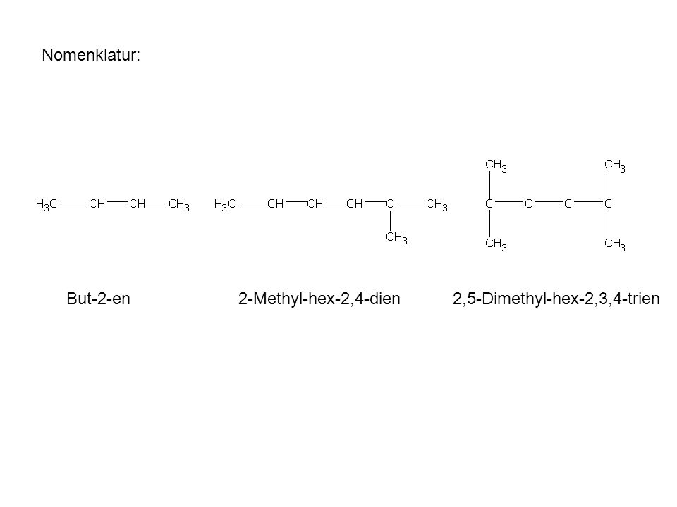 Nomenklatur: But-2-en 2-Methyl-hex-2,4-dien 2,5-Dimethyl-hex-2,3,4-trien
