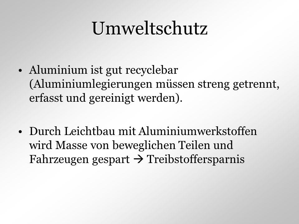 Umweltschutz Aluminium ist gut recyclebar (Aluminiumlegierungen müssen streng getrennt, erfasst und gereinigt werden).