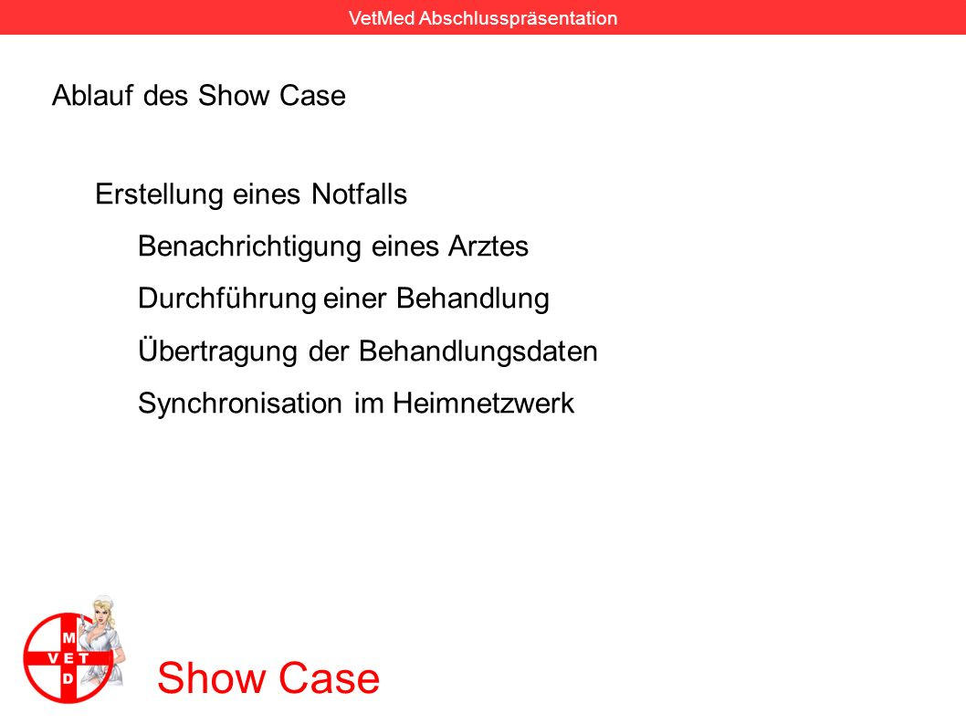 Show Case Ablauf des Show Case Erstellung eines Notfalls