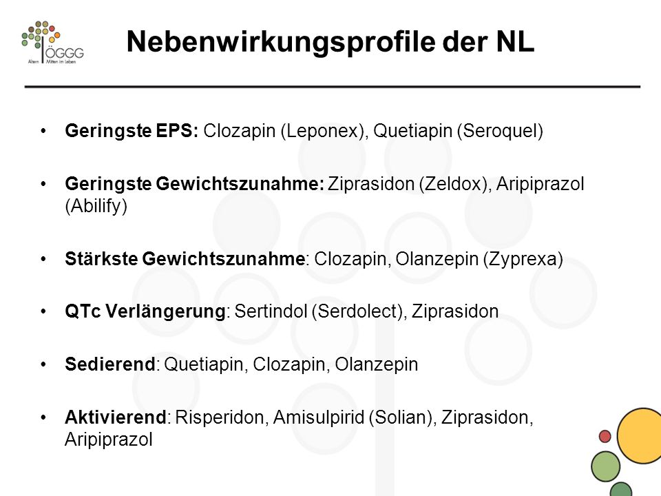 Nebenwirkungsprofile der NL