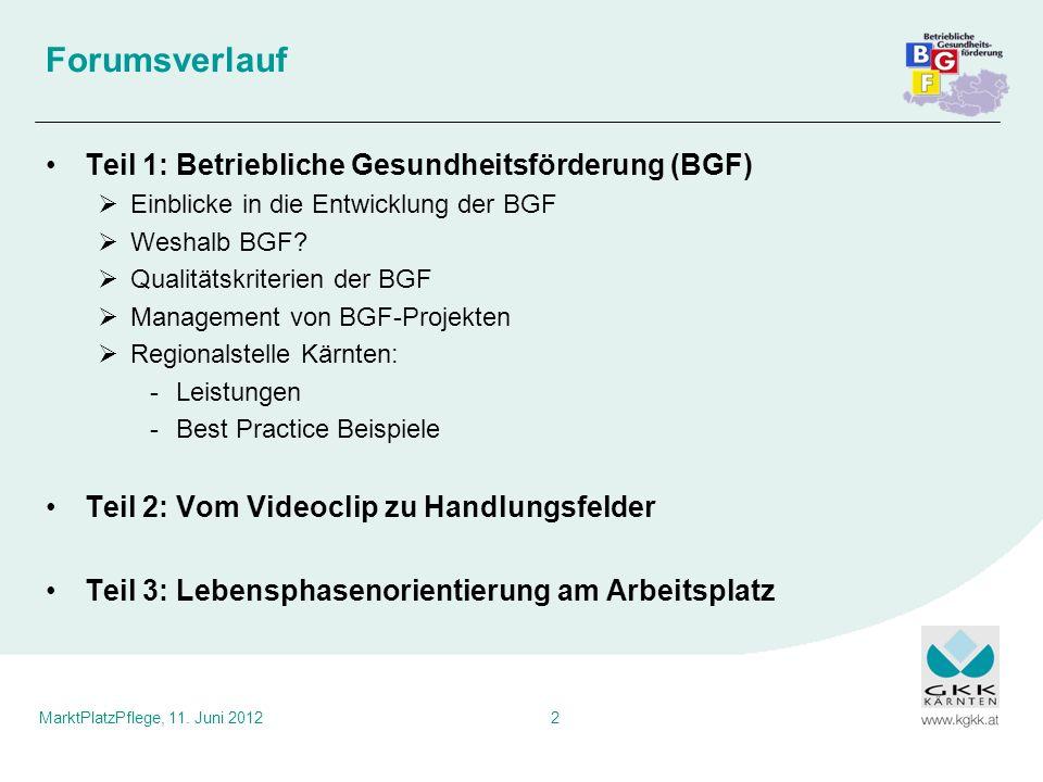 Forumsverlauf Teil 1: Betriebliche Gesundheitsförderung (BGF)