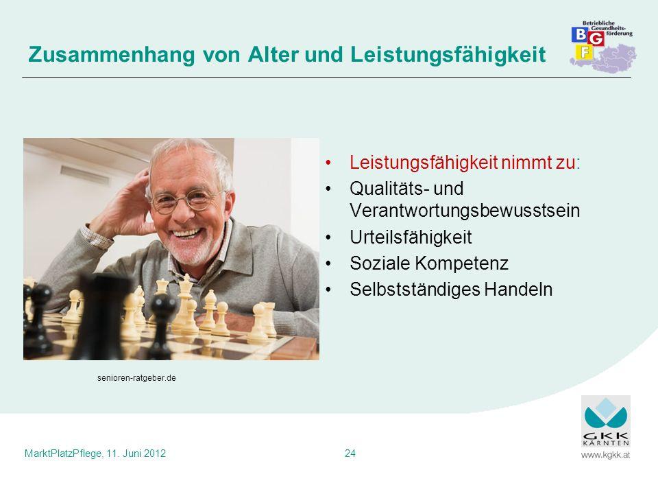 Zusammenhang von Alter und Leistungsfähigkeit
