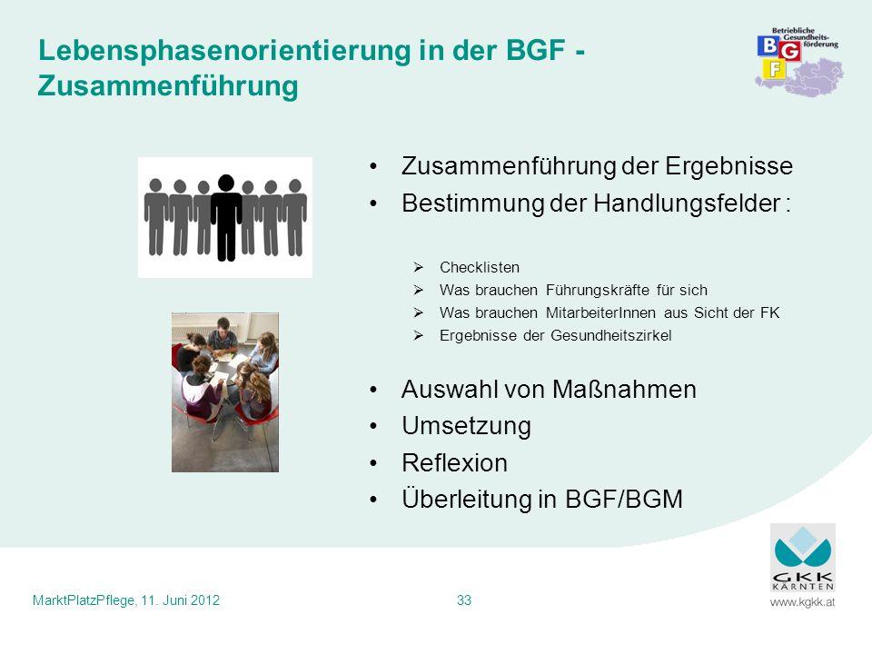 Lebensphasenorientierung in der BGF - Zusammenführung
