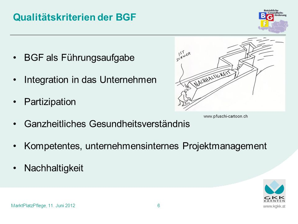 Qualitätskriterien der BGF