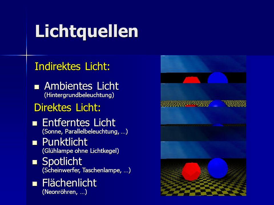 Lichtquellen Indirektes Licht: