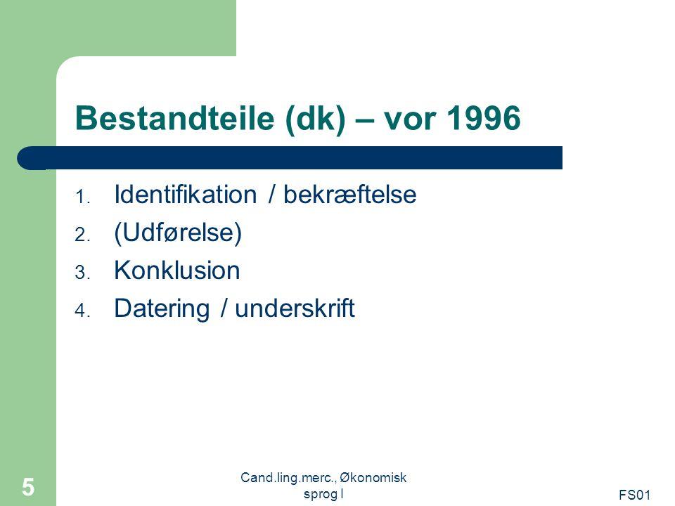 Bestandteile (dk) – vor 1996