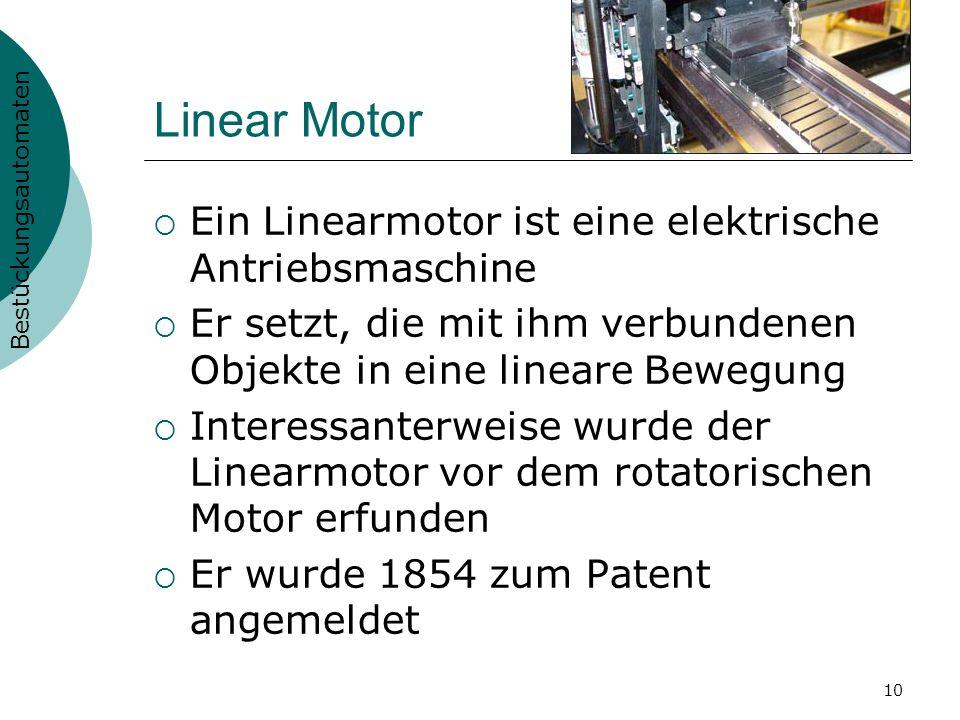 Linear Motor Ein Linearmotor ist eine elektrische Antriebsmaschine