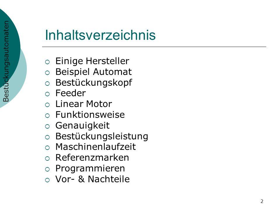 Inhaltsverzeichnis Einige Hersteller Beispiel Automat Bestückungskopf