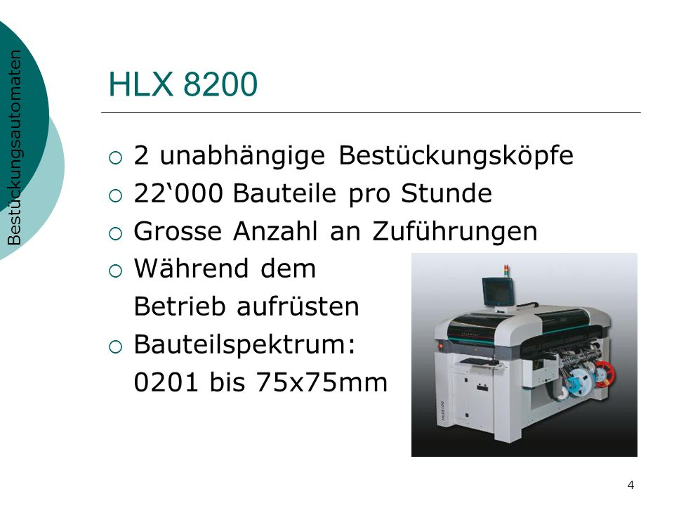 HLX 8200 2 unabhängige Bestückungsköpfe 22'000 Bauteile pro Stunde