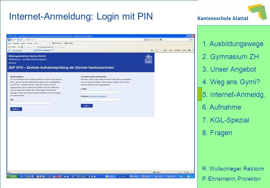 Internet-Anmeldung: Login mit PIN