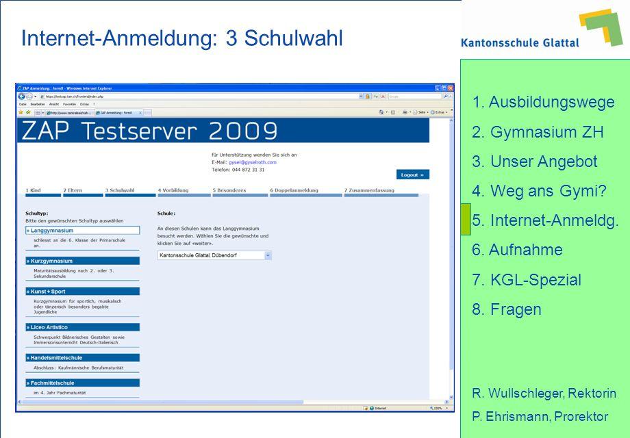Internet-Anmeldung: 3 Schulwahl