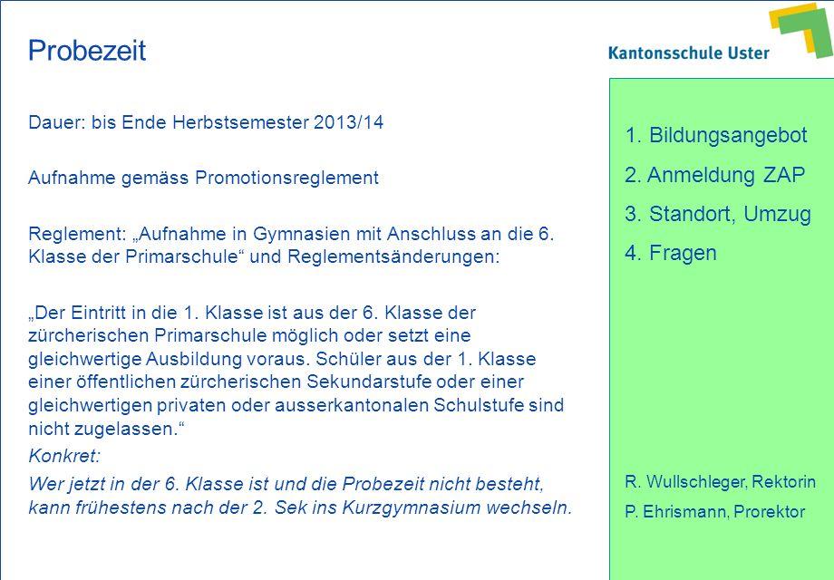 Probezeit Dauer: bis Ende Herbstsemester 2013/14