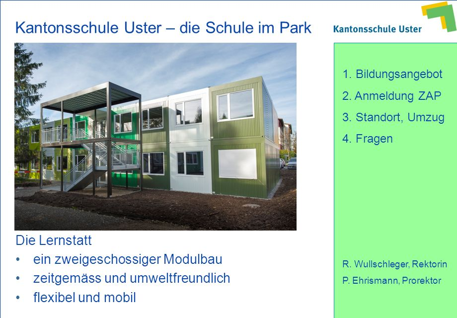 Kantonsschule Uster – die Schule im Park