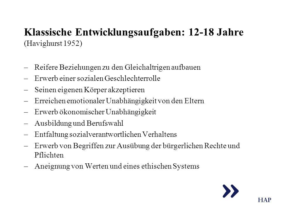 Klassische Entwicklungsaufgaben: 12-18 Jahre (Havighurst 1952)