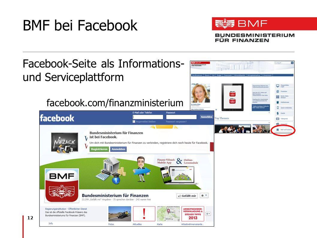 BMF bei Facebook Facebook-Seite als Informations- und Serviceplattform