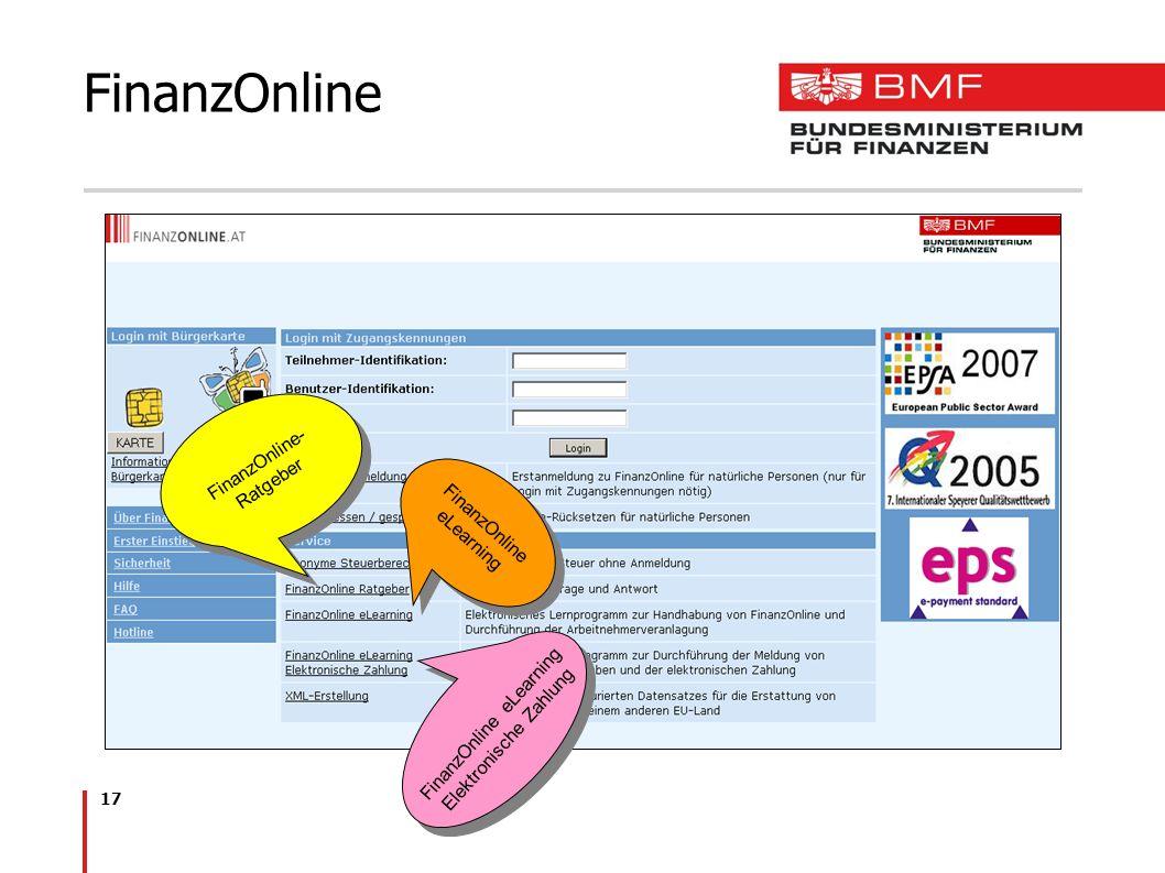 FinanzOnline FinanzOnline- Ratgeber FinanzOnline eLearning