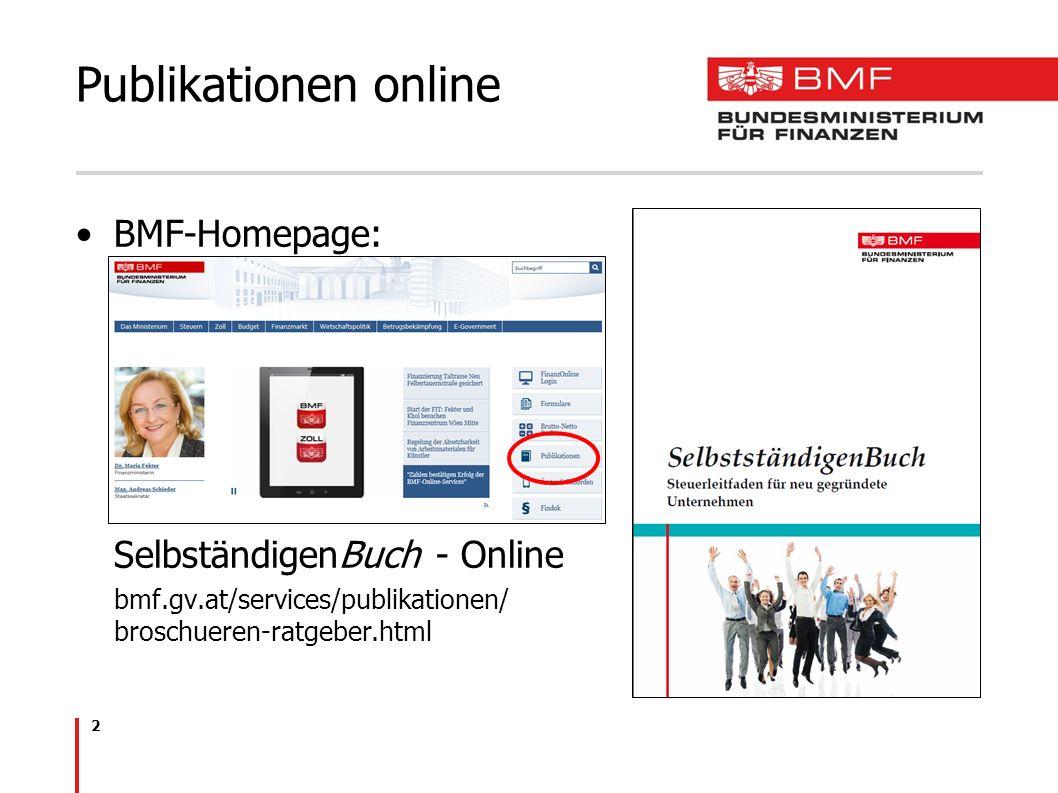Publikationen online BMF-Homepage: SelbständigenBuch - Online