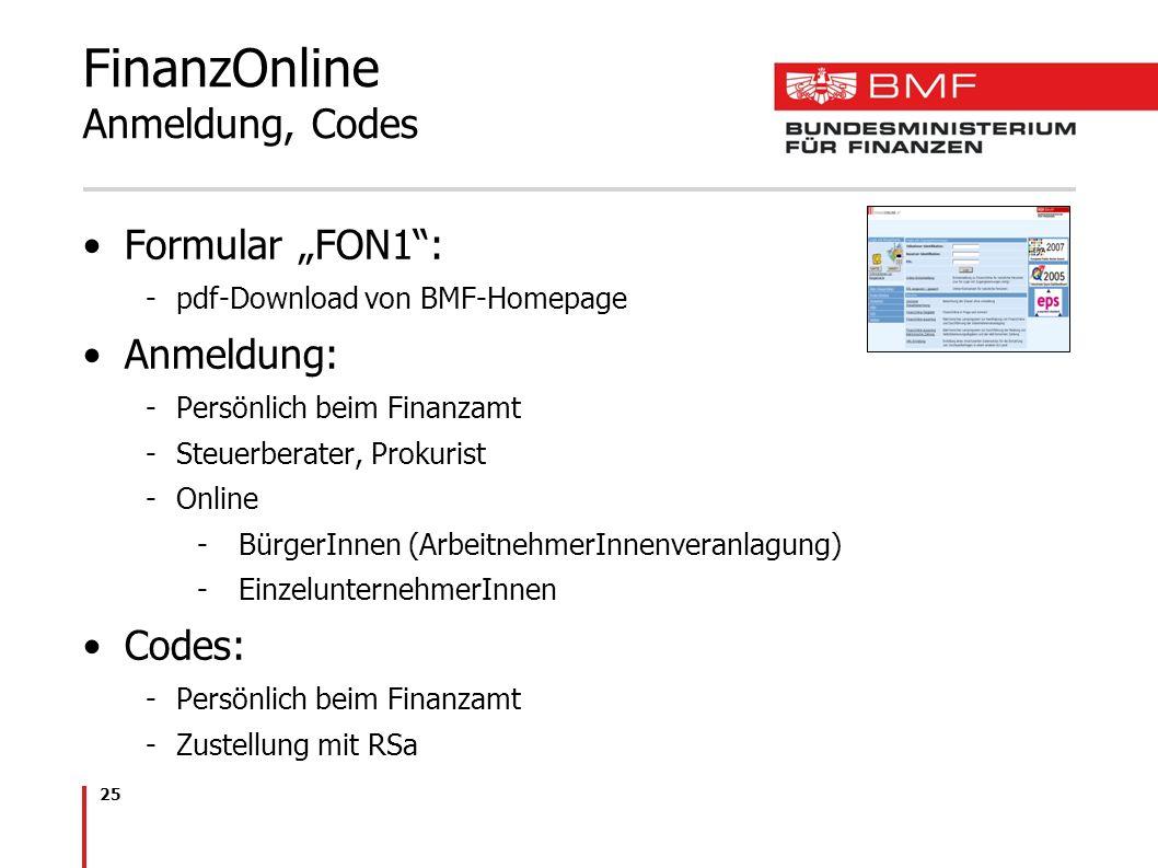 FinanzOnline Anmeldung, Codes