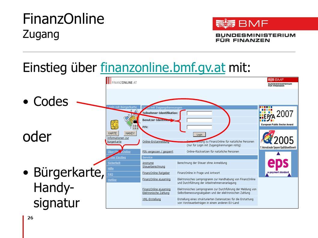 FinanzOnline Zugang oder Einstieg über finanzonline.bmf.gv.at mit: