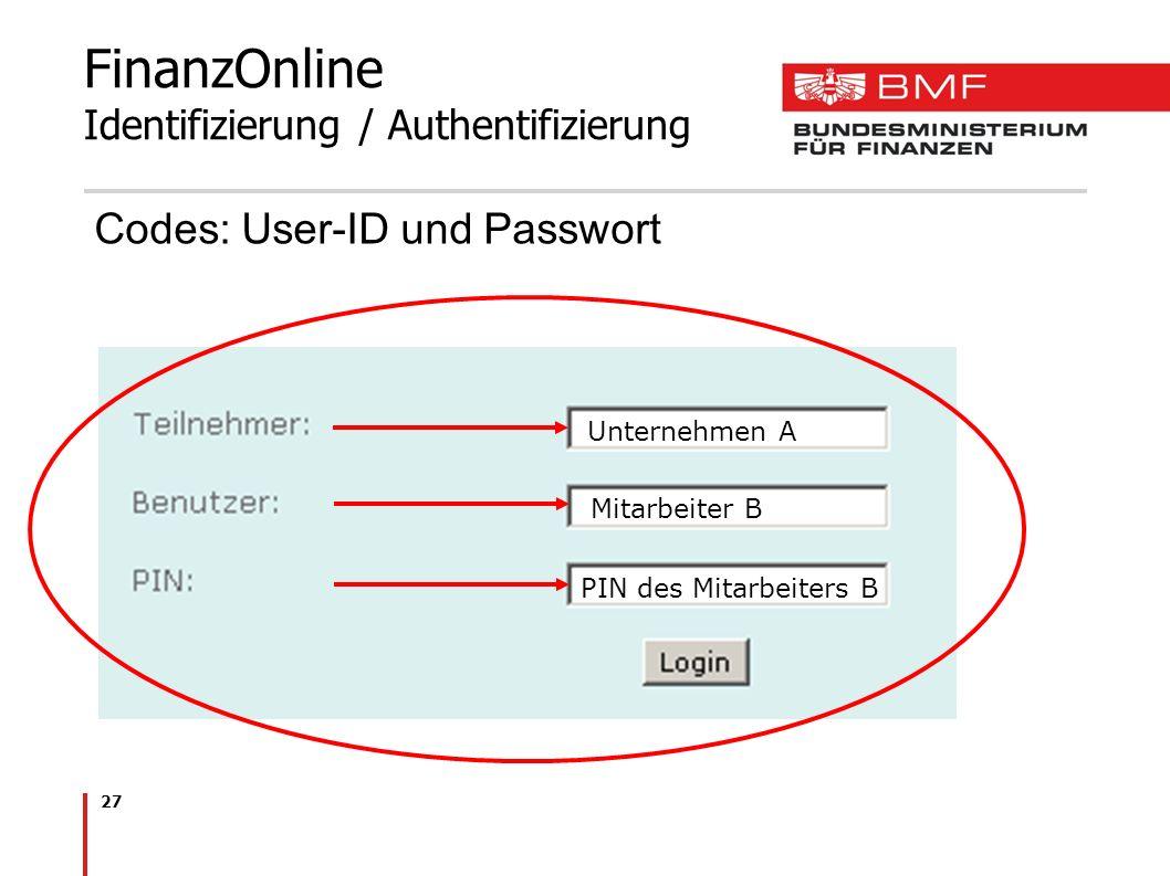FinanzOnline Identifizierung / Authentifizierung