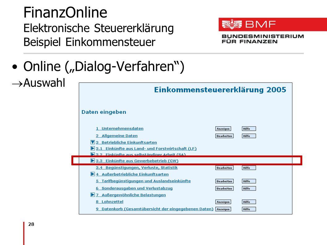 FinanzOnline Elektronische Steuererklärung Beispiel Einkommensteuer