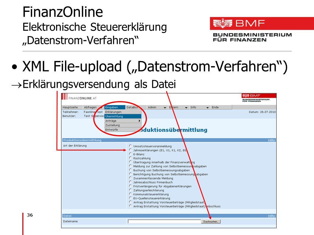 """FinanzOnline Elektronische Steuererklärung """"Datenstrom-Verfahren"""