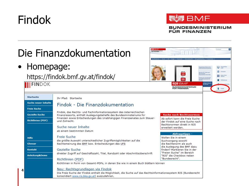 Findok Die Finanzdokumentation Homepage: