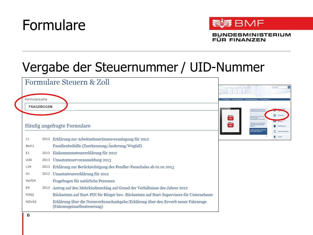 Formulare Vergabe der Steuernummer / UID-Nummer FRAGEBOGEN