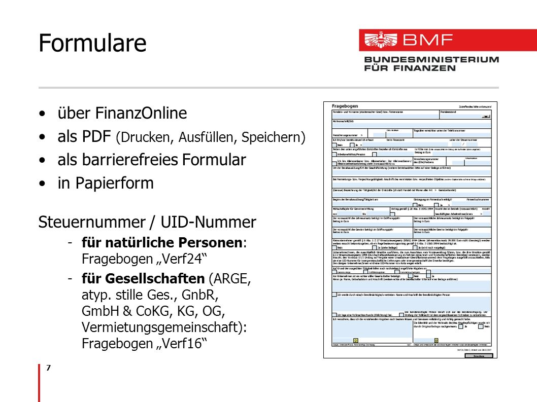 Formulare über FinanzOnline als PDF (Drucken, Ausfüllen, Speichern)