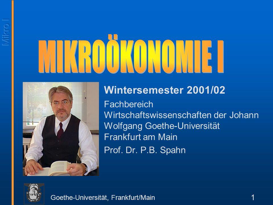 MIKROÖKONOMIE I Wintersemester 2001/02